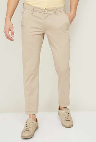 ALLEN SOLLY Men Solid Slim Straight Fit Casual Trousers