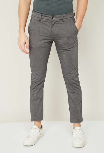 ALLEN SOLLY Men Textured Super Slim Fit Casual Trousers