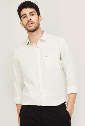 ALLEN SOLLY Men Textured Full Sleeves Casual Shirt