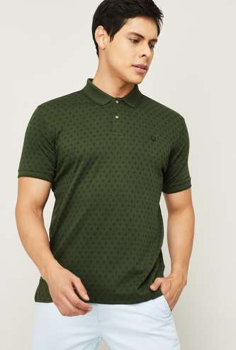 ALLEN SOLLY Men Printed Regular Fit Polo T-shirt