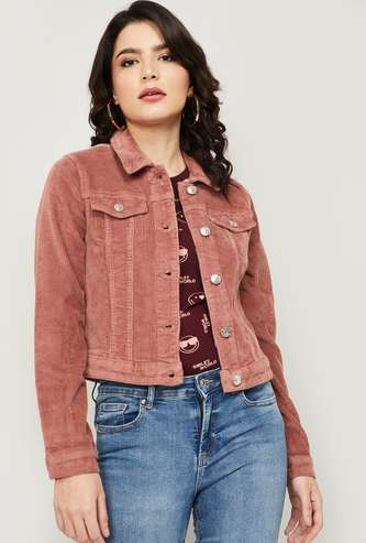 ONLY Women Solid Corduroy Jacket