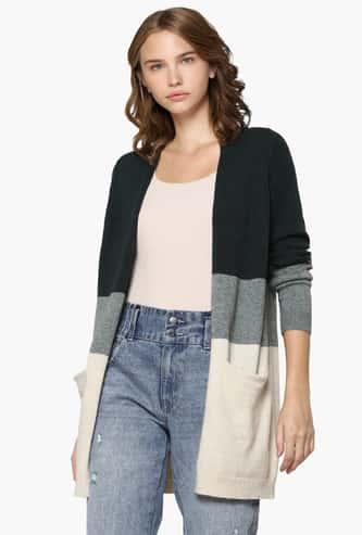 ONLY Women Colourblocked Open-Front Longline Sweater
