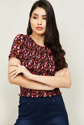 ONLY Women Floral Print Round Neck Smocked Top