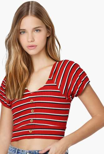 ONLY Women Striped Crop Top