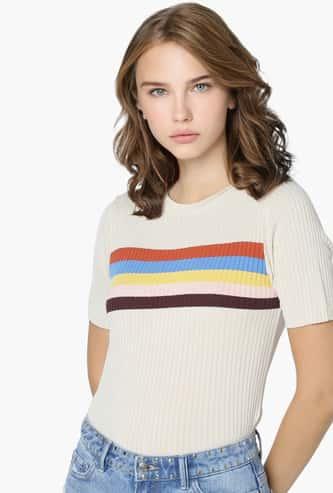 ONLY Women Textured Round Neck T-shirt