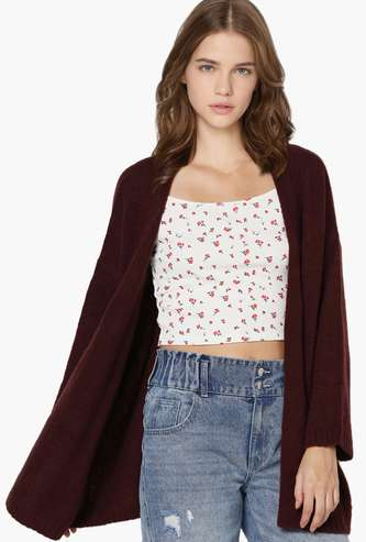 ONLY Women Solid Open-Front Longline Cardigan