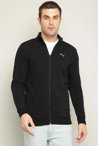 PUMA Men Solid Knitted Full Sleeves Jacket