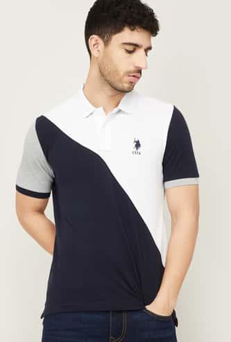 U.S. POLO ASSN. Men Colourblock Regular Fit Polo T-shirt