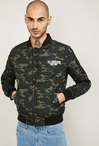 U.S. POLO ASSN. Men Camouflage Printed Bomber Jacket