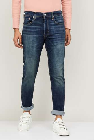 LEVI'S Men Stonewashed Slim Tapered Fit Jeans