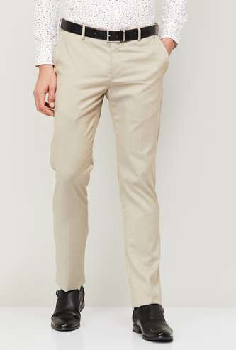 ARROW Men Solid Slim Tapered Formal Trousers