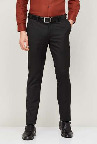 ARROW Men Textured Slim Tapered Fit Formal Trousers