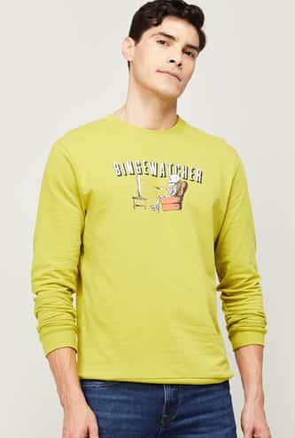 FAME FOREVER Men Graphic Print Crew Neck Sweatshirt