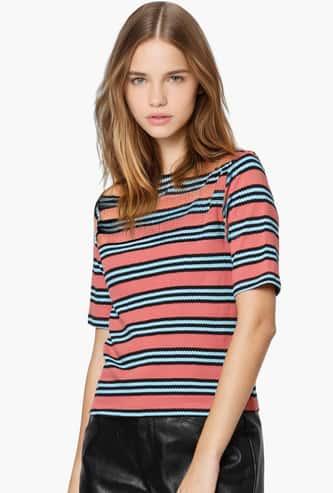 ONLY Women Striped Round Neck T-shirt