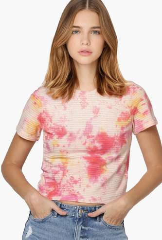 ONLY Women Tie-Dye Print Round Neck T-shirt