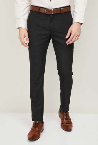 ARROW NEW YORK Men Textured Slim Tapered Formal Trousers