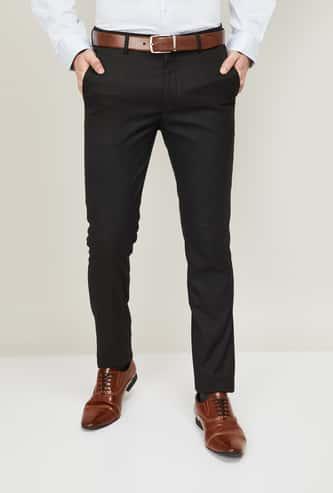 ARROW NEW YORK Men Textured Super Slim Formal Trousers