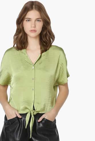 ONLY Women Solid Tie-Up Hem Shirt