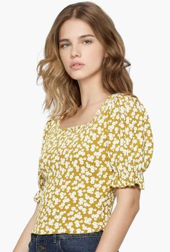 ONLY Women Printed Puffed Sleeves Top
