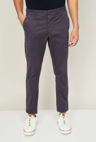BEING HUMAN Men Solid Slim Tapered Casual Trousers