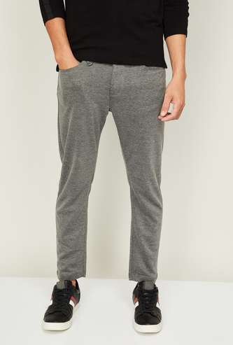 BEING HUMAN Men Textured Slim Tapered Fit Casual Trousers