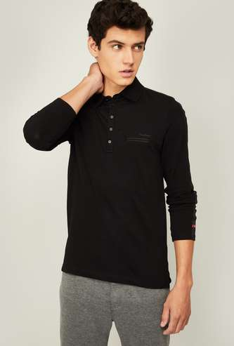 BEING HUMAN Men Solid Full Sleeves Polo T-shirt