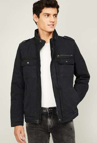 LEVI'S Men Solid Mock Collar Biker Jacket