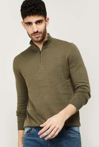 CELIO Men Solid Mock Collar Sweater