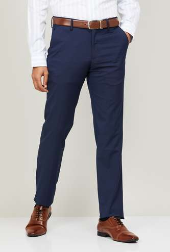 LOUIS PHILIPPE Men Solid Flat Front Formal Trousers