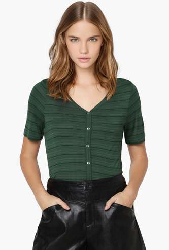 ONLY Women Striped V-neck Top