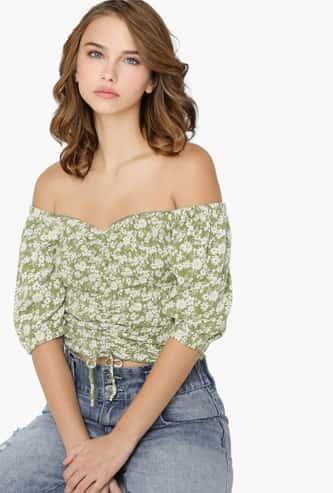ONLY Women Printed Off-Shoulder Crop Top