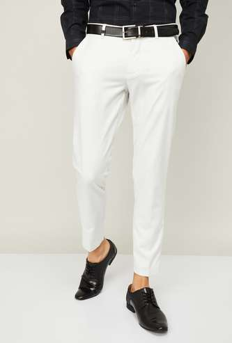 LOUIS PHILIPPE Men Textured Slim Tapered Formal Trousers
