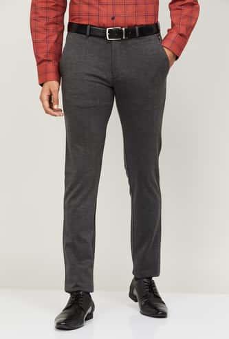 LOUIS PHILIPPE Men Textured Super Slim Fit Formal Trousers