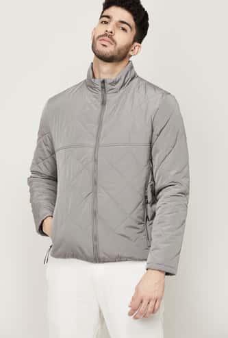 CELIO Men Quilted Mock Collar Jacket