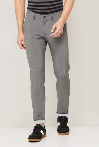 ALLEN SOLLY Men Textured Slim Tapered Fit Casual Trousers