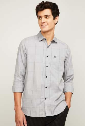 ALLEN SOLLY Men Checked Super Slim Fit Casual Shirt