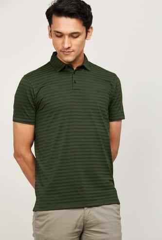 ALLEN SOLLY Men Striped Polo T-shirt