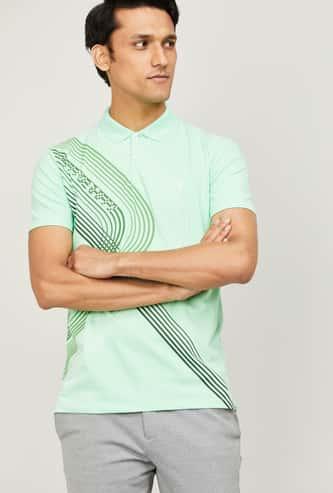 ALLEN SOLLY Men Printed Polo T-shirt