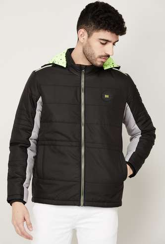 BEING HUMAN Colourblocked Hooded Puffer Jacket
