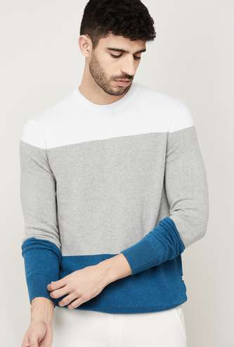 CELIO Men Colourblocked Crew Neck Sweater