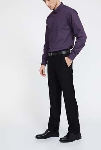 VAN HEUSEN Flat-Front Slim Fit Formal Trousers