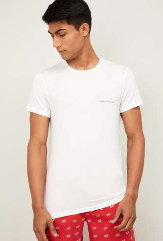 FCUK Solid Crew Neck Lounge T-shirt