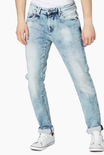 FLYING MACHINE Acid Wash Slim-Tapered 5-Pocket Jeans