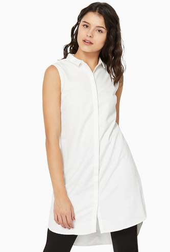 ALLEN SOLLY Patterned Weave Sleeveless High-Low Tunic