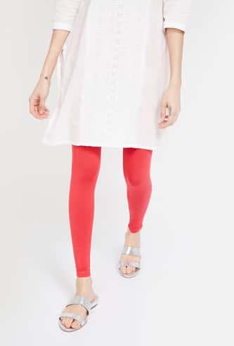 MELANGE Solid Ankle-Length Leggings