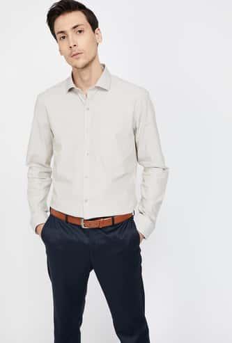 CODE Slim Fit Solid Long-Sleeve Shirt