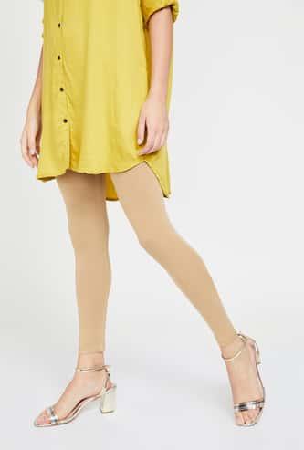 MELANGE Elasticated Waist Solid Leggings