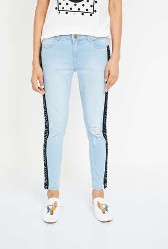 GINGER Typographic Print Lightly Washed Slim Distressed Jeans