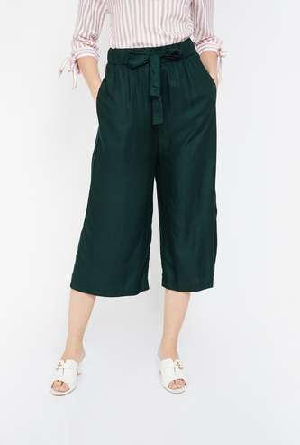 GINGER Solid Culottes with Waist Tie-Up
