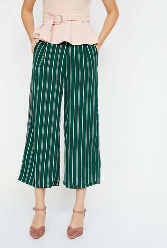 GINGER Striped Cropped Palazzo Pants